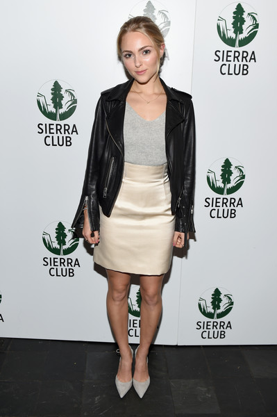 AnnaSophia Robb Leather Jacket [act in paris,clothing,green,cocktail dress,dress,fashion,joint,footwear,leg,leather,jacket,annasophia robb,heath,mckittrick hotel,new york city,sierra club,a night of comedy and climate action]