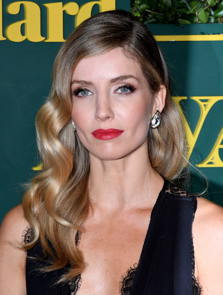Annabelle Wallis Red Lipstick [hair,face,hairstyle,blond,lip,eyebrow,beauty,chin,long hair,brown hair,red carpet arrivals,annabelle wallis,london evening standard theatre awards,london,england,theatre royal]