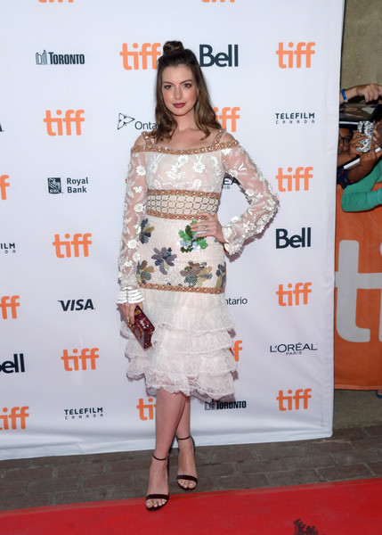 Anne Hathaway Embroidered Dress