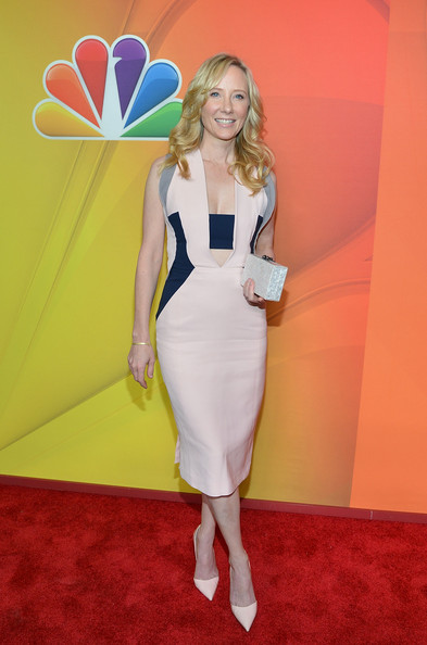 Anne Heche Box Clutch [clothing,red carpet,carpet,dress,cocktail dress,shoulder,flooring,fashion,blond,joint,anne heche,presentation,upfront presentation,new york city,the jacob k. javits convention center,nbc]