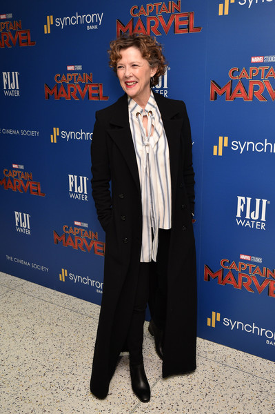 Annette Bening Ankle Boots [fiji water with the cinema society host a special screening of ``captain marvel,captain marvel,suit,premiere,tuxedo,white-collar worker,formal wear,event,electric blue,pantsuit,carpet,annette bening,new york city,cinema society,screening]