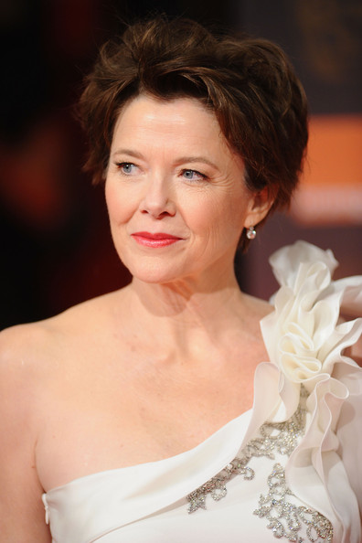 Annette Bening Messy Cut [hair,face,hairstyle,skin,beauty,lip,chin,eyebrow,dress,shoulder,annette bening,arrivals,england,london,the royal opera house,orange british academy film awards]
