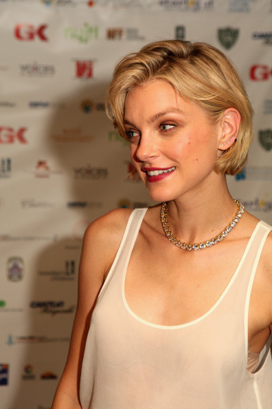 Jessica Stam glammed up her tank top with a gorgeous diamond tennis necklace during NYC's Charity Day event.