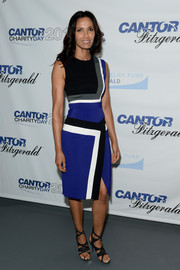 Padma Lakshmi kept it chic all the way down to her strappy black heels.