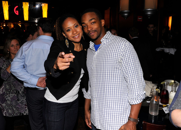 Anthony Mackie Button Down Shirt [event,friendship,party,nightclub,pub,fun,night,drink,bar,alcohol,actors,anthony mackie,tracie thoms,broadway,king blues club grill,montblanc,l,production,production,party]