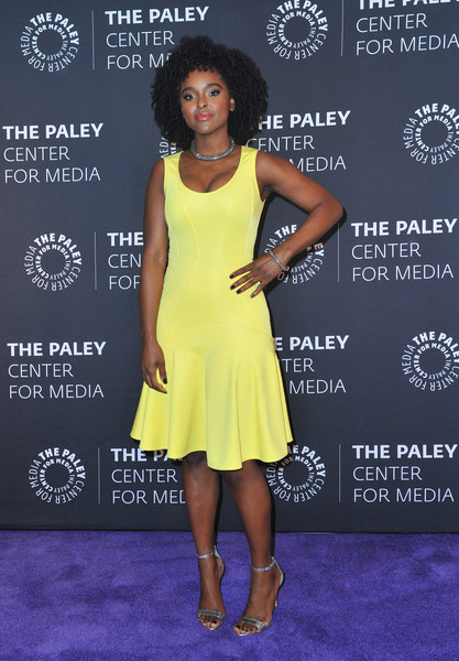 Antoinette Robertson Evening Sandals [clothing,dress,cocktail dress,yellow,carpet,premiere,fashion,red carpet,footwear,shoulder,dear white people,paley center for media presents: an evening with,an evening with,beverly hills,california,the paley center for media,antoinette robertson]