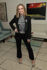 Haley Lu Richardson teamed a black pantsuit with a printed pussybow blouse for the Trailblazers: Women in the Workplace event.
