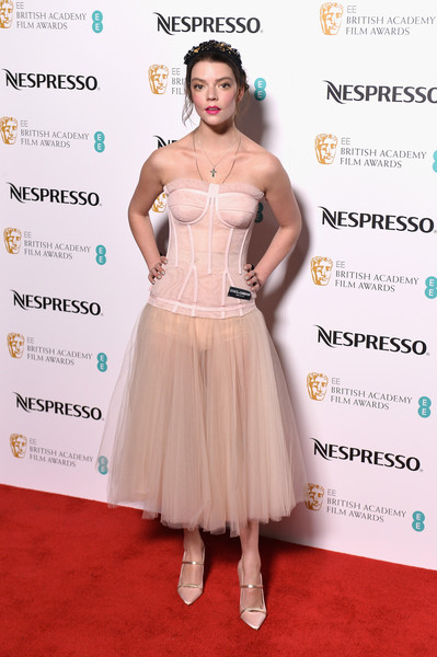 Anya Taylor-Joy Corset Dress [clothing,dress,cocktail dress,shoulder,hairstyle,red carpet,fashion,carpet,gown,premiere,red carpet arrivals,anya taylor-joy,british academy film awards,nominees party,ee,england,london,kensington palace,nominees party,bafta]