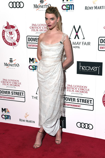 Anya Taylor-Joy One Shoulder Dress [dress,clothing,shoulder,red carpet,carpet,cocktail dress,joint,premiere,strapless dress,flooring,red carpet arrivals,anya taylor-joy,london,england,the may fair hotel,london critics circle choice awards]