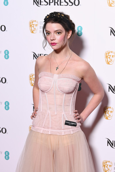 Anya Taylor-Joy Gray Nail Polish [clothing,dress,skin,pink,hairstyle,fashion,waist,shoulder,peach,flooring,red carpet arrivals,anya taylor-joy,british academy film awards,nominees party,ee,england,london,kensington palace,nominees party,bafta]