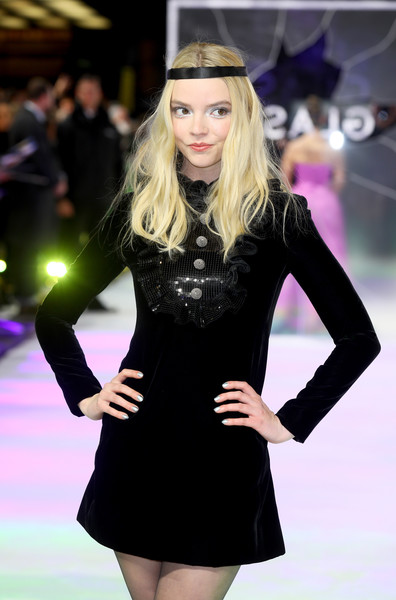 Anya Taylor-Joy Metallic Nail Polish [fashion model,fashion,clothing,fashion show,dress,little black dress,blond,runway,long hair,model,glass,m. night shyamalan,anya taylor-joy,uk,england,london,premiere,curzon cinema mayfair]