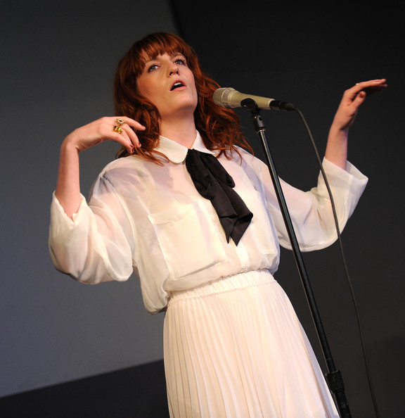 More Pics of Florence Welch Evening Dress (1 of 30) - Florence Welch Lookbook - StyleBistro [performance,singing,singer,performing arts,event,music,human body,talent show,performance art,outerwear,apple store live from soho presents florence the machine,new york city,soho,florence the machine,apple store,florence welch]