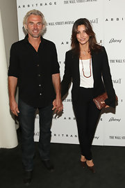 Gina Gershon kept it simple yet classic with this black pantsuit at the 'Arbitrage' New York premiere.