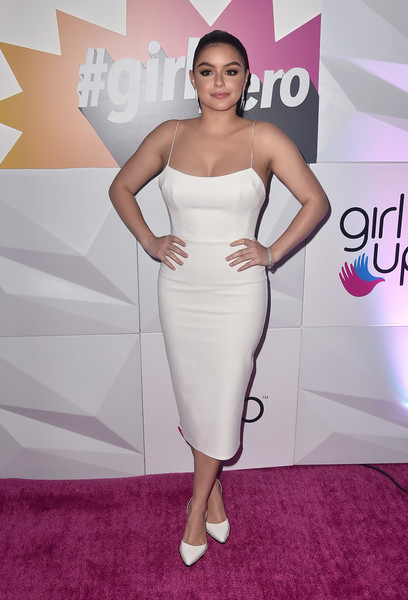Ariel Winter Form-Fitting Dress [dress,clothing,carpet,cocktail dress,shoulder,red carpet,strapless dress,skin,fashion,hairstyle,arrivals,ariel winter,inaugural girlhero awards,sls hotel,beverly hills,california,girl up,girlhero award luncheon]