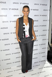 Bar Refeali ipted to wear a pair of pinstripe trousers anda matching vest for the Armani Fashion's Night Out celebration.