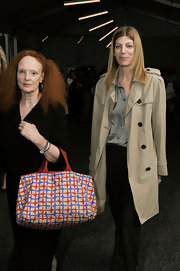 Grace Coddington carried a large red and blue statement hobo bag around spring 2011 MBFW.