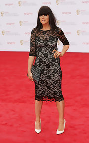 Claudia Winkleman chose a lovely lace frock for a sophisticated look on the BAFTA TV Awards red carpet.