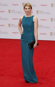 Jodie chose this elegant column-style dress with a lovely lace pattern for her look at the BAFTA TV Awards.