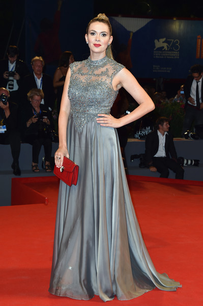 Carly Steel got all glammed up in a slate-blue gown with a beaded bodice for the Venice Film Festival premiere of 'Arrival.'