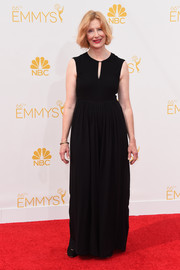 Frances Conroy chose a black keyhole-neckline evening dress for her Emmys look.