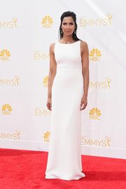 Padma Lakshmi chose a simple, sleek white column dress by Ralph Rucci Couture for her Emmys look.