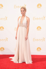 Joanne Froggatt channeled her inner Greek goddess in a pleated white J. Mendel halter gown, featuring an embellished deep-V neckline and waist, during the Emmys.