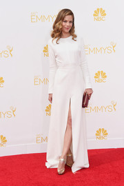 Michelle Monaghan went for low-key elegance in a long-sleeve white Giambattista Valli Couture gown at the Emmys.