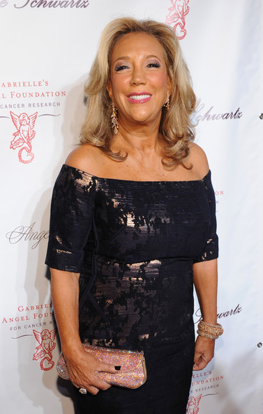 Denise Rich accessorized with a sparkly pink clutch when she attended the Angel Ball.