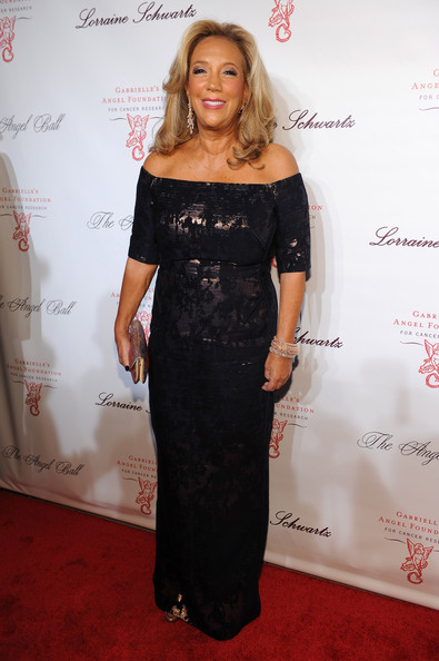 Denise Rich went for classic elegance in a black brocade off-the-shoulder gown during the Angel Ball.