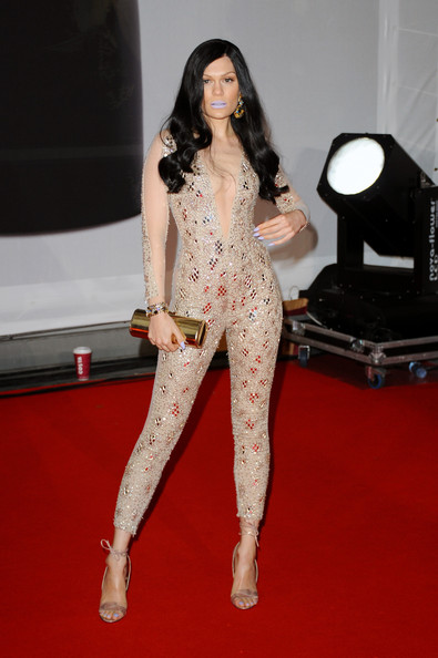 Jessie J chose chic nude ankle-tie sandals to team with her sexy catsuit.
