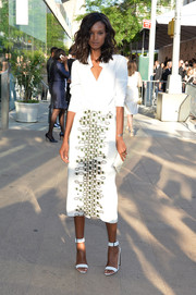 Liya Kebede polished off her stylish ensemble with trendy white ankle-cuff sandals.