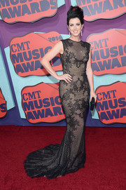 Shawna Thompson looked sultry in a black lace sheer-illusion gown during the CMT Music Awards.
