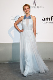 Jess Weixler looked ethereal at the Cinema Against AIDS Gala in a pale-blue Honor gown featuring floral detailing along the neckline.