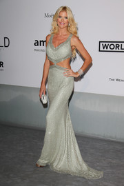 Victoria Silvstedt turned up the heat in an embellished silver cutout gown during the Cinema Against AIDS Gala.