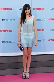 Lucia rocked the flapper look with this pale blue fringed mini dress.