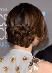 Keira Knightley showed off a unique and elaborate braided updo at the Critics' Choice Movie Awards.