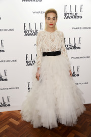 Rita Ora channeled her inner princess in this flouncy white Marchesa gown during the Elle Style Awards.