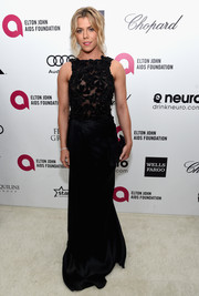 Kimberly Perry kept it elegant in a black lace-bodice gown by Pamella Roland during Elton John's Oscar-viewing party.