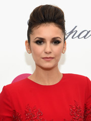 Nina Dobrev looked elegantly cool with her pompadour during Elton John's Oscar-viewing party.