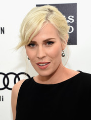Natasha Bedingfield styled her hair into a loose updo with side-swept bangs for Elton John's Oscar-viewing party.
