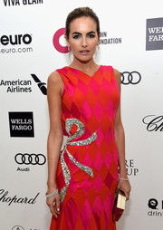Camilla Belle paired Chopard diamonds with a bedazzled gown for total glamour at the Elton John AIDS Foundation Oscar-viewing party.