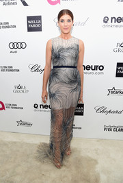 Kate Walsh's Blumarine gown at Elton John's Oscar-viewing party had an ethereal quality with its floor-sweeping sheer overlay and swirly beading.