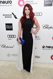 Jillian Rose Reed went the modern route in a black-and-white BCBG cutout gown during Elton John's Oscar-viewing party.