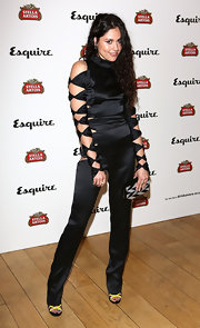 Eliza Doolittle rocked a black satin cutout jumpsuit for a totally edgy look at Esquire's Summer Party in London.