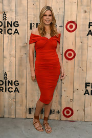 Mary Alice Stephenson looked ultra feminine and sexy in a ruched red off-the-shoulder dress at the Feed USA + Target launch.