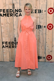 Mamie Gummer looked all set for summer in a coral button-down halter dress at the Feed USA + Target launch.