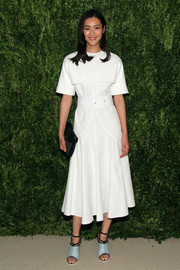 Liu Wen looked like a schoolgirl in her white Derek Lam dress during the Fashion Fund finalists celebration.