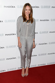 Laura Haddock chose a micro-printed silver jumpsuit for her look at the Glamour Women of the Year Awards.