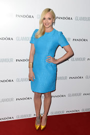 Fearne Cotton chose a bright sky blue frock for her red carpet look at the Glamour's Women of the Year Awards in London.