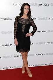 Kirsty Gallacher wore this long-sleeve black lace frock to the 'Glamour' Women of the Year Awards.